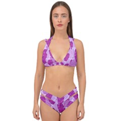 Exotic Tropical Leafs Watercolor Pattern Double Strap Halter Bikini Set by Vaneshart