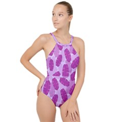 Exotic Tropical Leafs Watercolor Pattern High Neck One Piece Swimsuit by Vaneshart