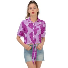 Exotic Tropical Leafs Watercolor Pattern Tie Front Shirt  by Vaneshart