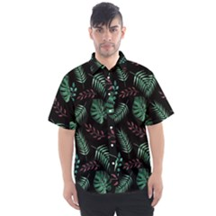 Tropical Leaves Pattern Men s Short Sleeve Shirt