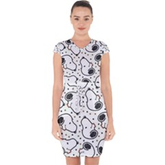 Dog Pattern Capsleeve Drawstring Dress