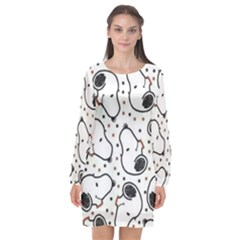 Dog Pattern Long Sleeve Chiffon Shift Dress