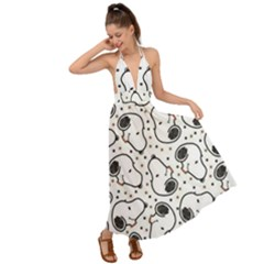Dog Pattern Backless Maxi Beach Dress