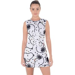 Dog Pattern Lace Up Front Bodycon Dress