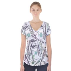 Mixed Dollars Short Sleeve Front Detail Top