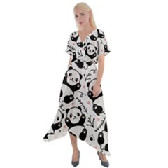 Panda Pattern Cross Front Sharkbite Hem Maxi Dress