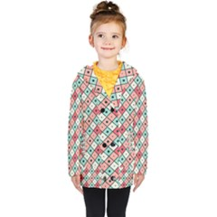 Romboidal Vector Pattern Kids  Double Breasted Button Coat by Vaneshart