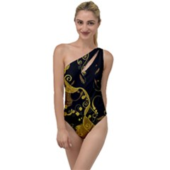 Floral Pattern Background To One Side Swimsuit by Vaneshart