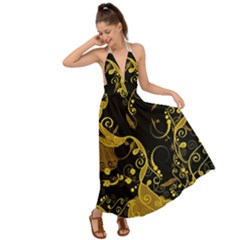 Floral Pattern Background Backless Maxi Beach Dress