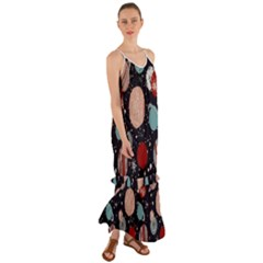 Space Galaxy Pattern Cami Maxi Ruffle Chiffon Dress