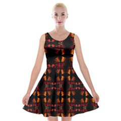 Christmas Bells Background Velvet Skater Dress