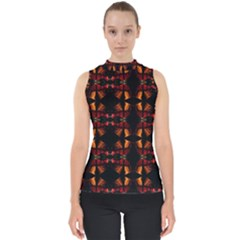 Christmas Bells Background Mock Neck Shell Top