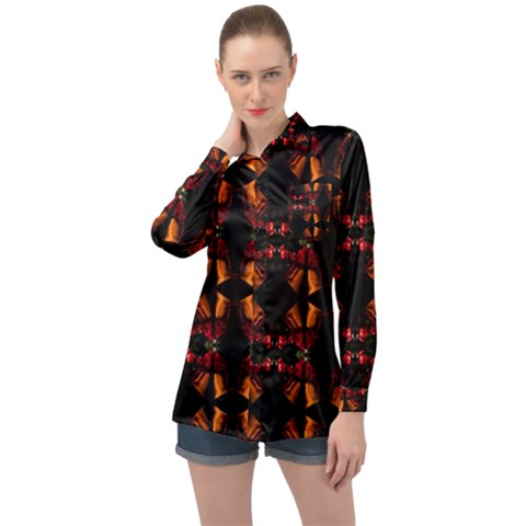Christmas Bells Background Long Sleeve Satin Shirt by Vaneshart