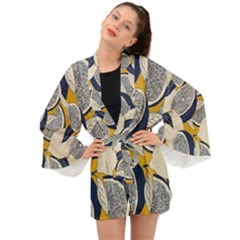 Blue And Ochre Long Sleeve Kimono