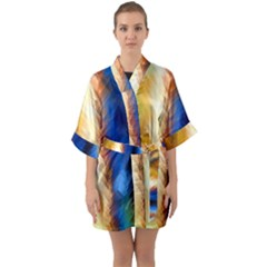 Abstract Paint Smears Half Sleeve Satin Kimono  by Vaneshart