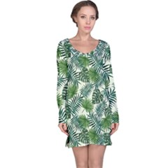 Leaves Tropical Wallpaper Foliage Long Sleeve Nightdress