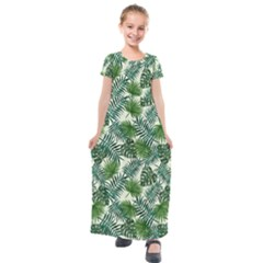 Leaves Tropical Wallpaper Foliage Kids  Short Sleeve Maxi Dress