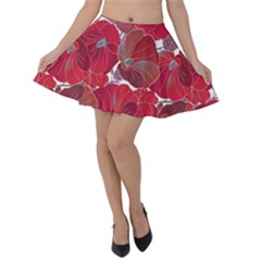 Floral Pattern Background Velvet Skater Skirt