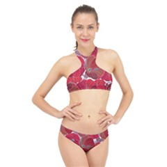 Floral Pattern Background High Neck Bikini Set
