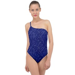 Constellations Pattern Classic One Shoulder Swimsuit by Vaneshart