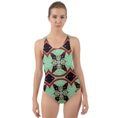 Christmas Pattern Cut-out Back One Piece Swimsuit