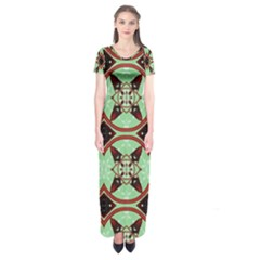 Christmas Pattern Short Sleeve Maxi Dress