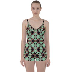 Christmas Pattern Tie Front Two Piece Tankini