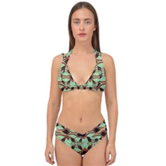 Christmas Pattern Double Strap Halter Bikini Set