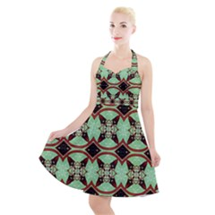 Christmas Pattern Halter Party Swing Dress