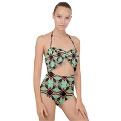Christmas Pattern Scallop Top Cut Out Swimsuit