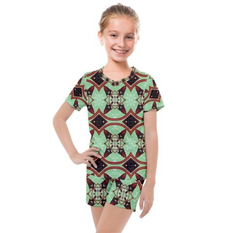 Christmas Pattern Kids  Mesh Tee And Shorts Set by Vaneshart