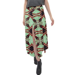 Christmas Pattern Velour Split Maxi Skirt
