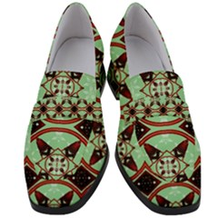 Christmas Pattern Women s Chunky Heel Loafers