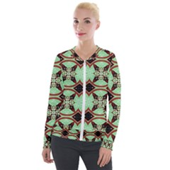 Christmas Pattern Velour Zip Up Jacket