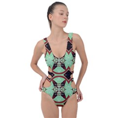 Christmas Pattern Side Cut Out Swimsuit