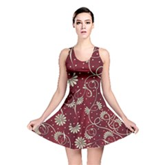 Floral Pattern Background Reversible Skater Dress