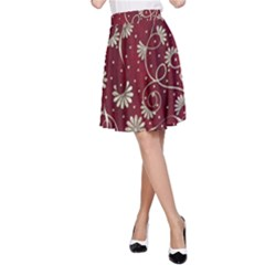 Floral Pattern Background A Line Skirt