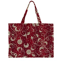 Floral Pattern Background Zipper Large Tote Bag