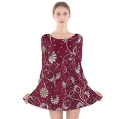 Floral Pattern Background Long Sleeve Velvet Skater Dress