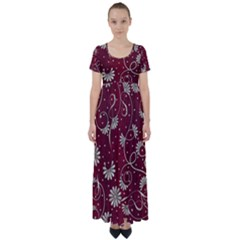 Floral Pattern Background High Waist Short Sleeve Maxi Dress