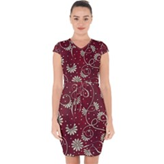 Floral Pattern Background Capsleeve Drawstring Dress