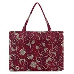 Floral Pattern Background Zipper Medium Tote Bag