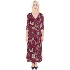 Floral Pattern Background Quarter Sleeve Wrap Maxi Dress