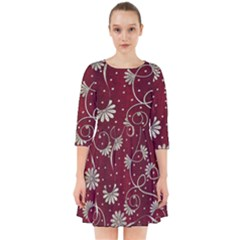 Floral Pattern Background Smock Dress
