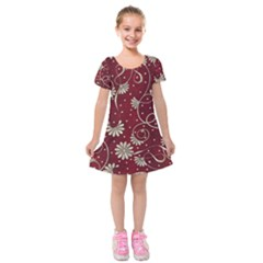 Floral Pattern Background Kids  Short Sleeve Velvet Dress