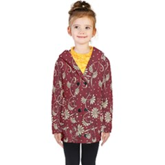 Floral Pattern Background Kids  Double Breasted Button Coat by Vaneshart