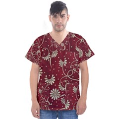 Floral Pattern Background Men s V Neck Scrub Top