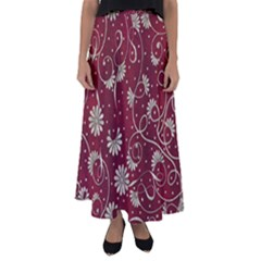 Floral Pattern Background Flared Maxi Skirt