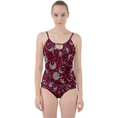 Floral Pattern Background Cut Out Top Tankini Set