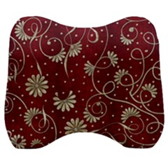 Floral Pattern Background Velour Head Support Cushion by Vaneshart